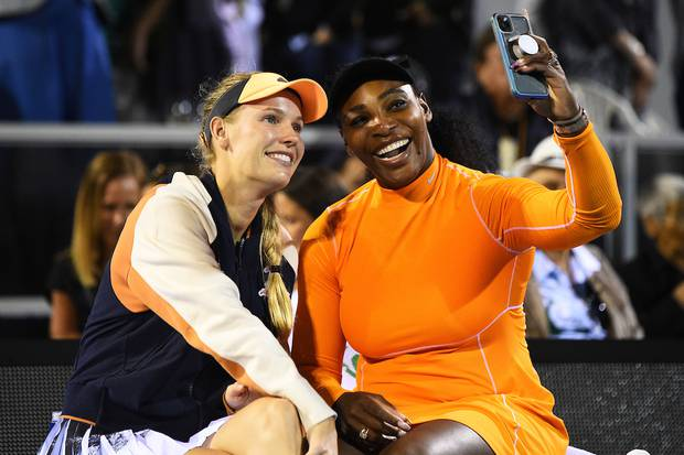 Caroline Wozniacki and Serena Williams States share a selfie after their doubles finals match. Photosport