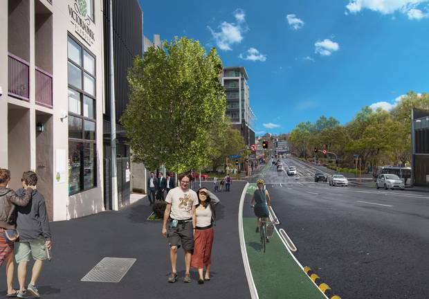 Artists impressions of the Victoria St cycleway looking west towards the Halsey St intersection. Photo / Supplied