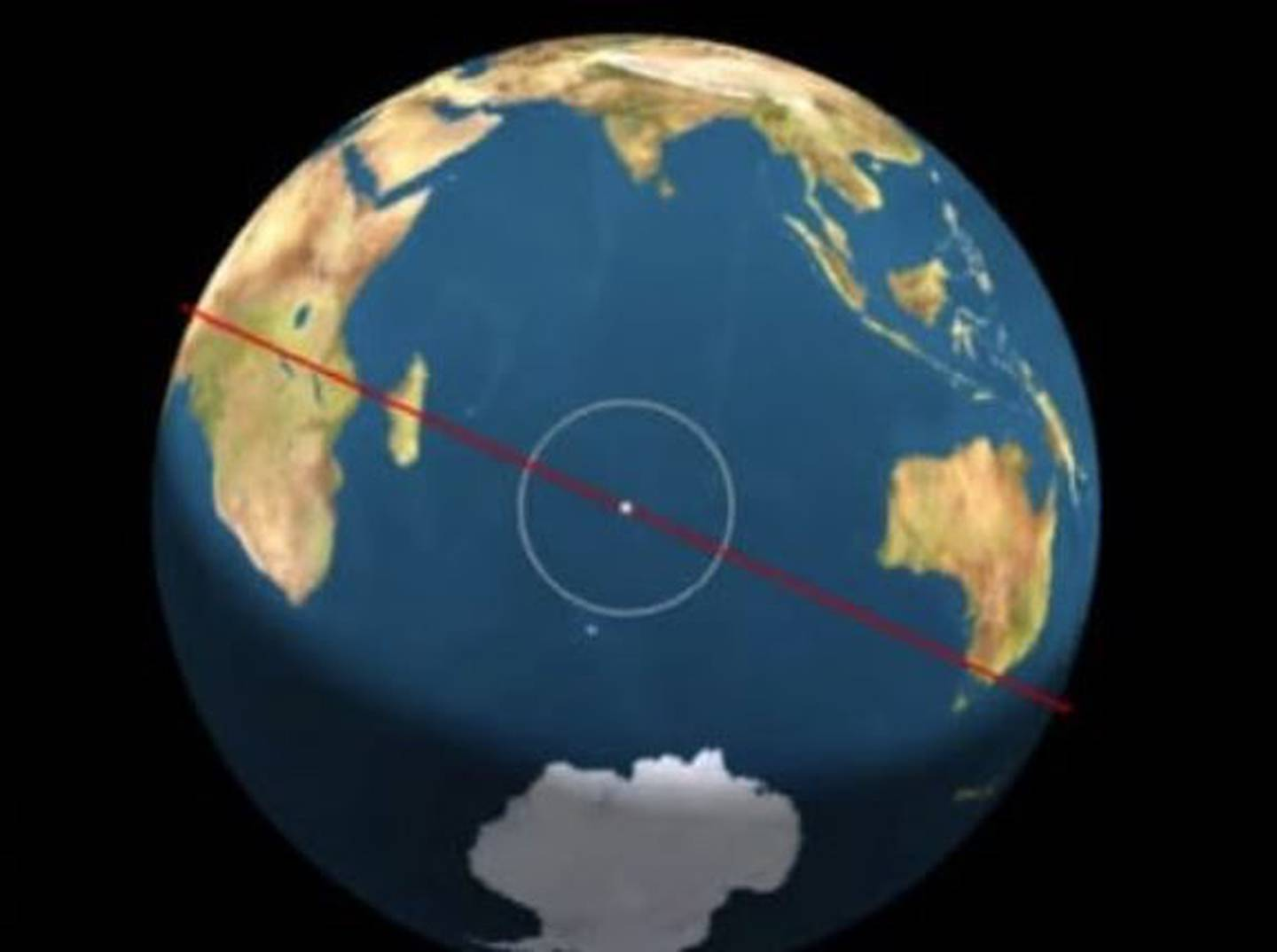The estimated location of the re-entry of the Chinese rocket. Photo / YouTube