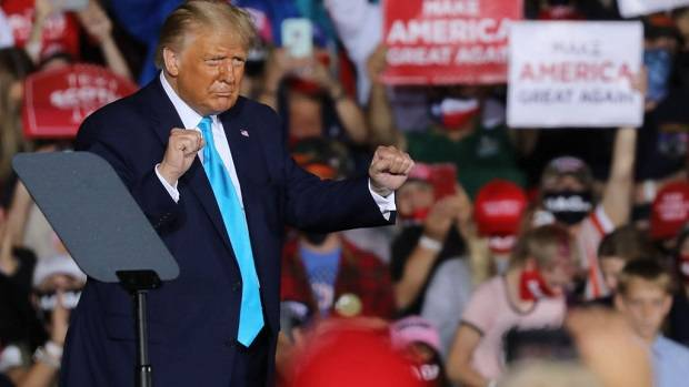 President Donald Trump speaks at a rally at Harrisburg International Airport. Photo / Getty Images