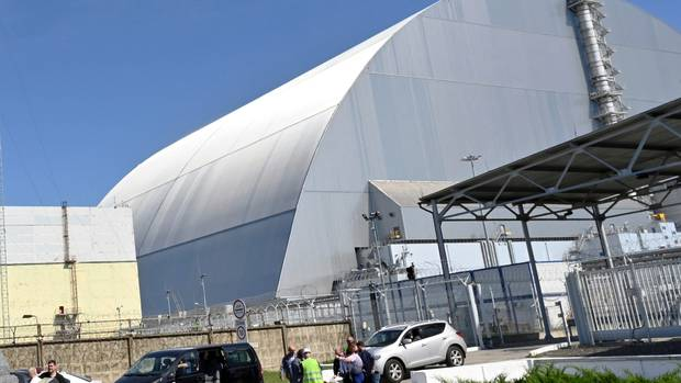 The New Safe Confinement (NSC) is a movable enclosure built to confine the Chernobyl nuclear reactor at the centre of the world's worst nuclear disaster. Photo / AP