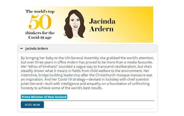 Jacinda Ardern was given glowing praise. Photo / Prospect