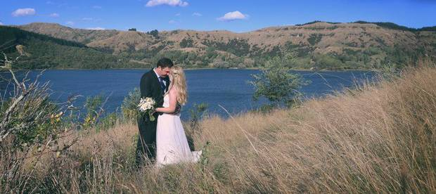 Jamie Morton married Maria Priestley at Lake Tutira in March 2015. Photo / Cornege Photography