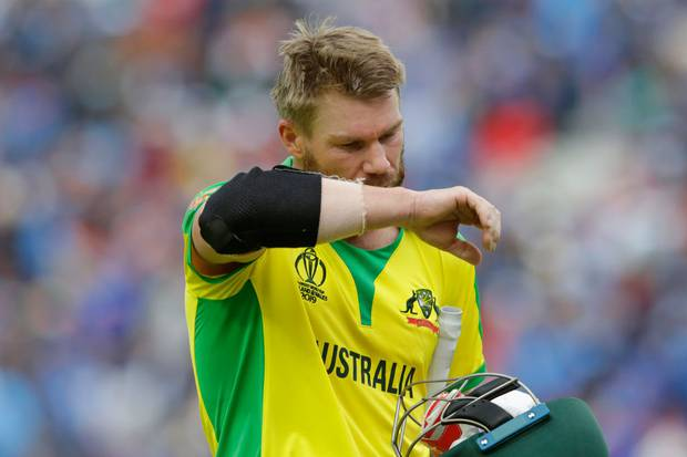 David Warner of Australia reacts after getting caught out during the Group Stage match of the ICC Cricket World Cup 2019 between India and Australia. Photo / Getty