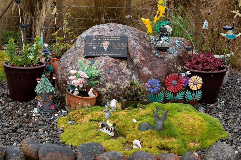 Memorial rock for Milton John Osborne, one of the 29 Pike River men that lost their lives. Photo / Brett Phibbs