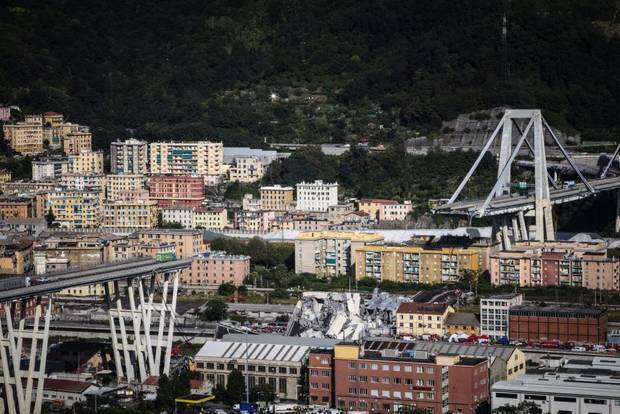 A general view of the Morandi bridge which collapsed today. The bridge was built in the 1960s and part of the A10 motorway connecting the Liguria region with south Italy. Photo / Getty