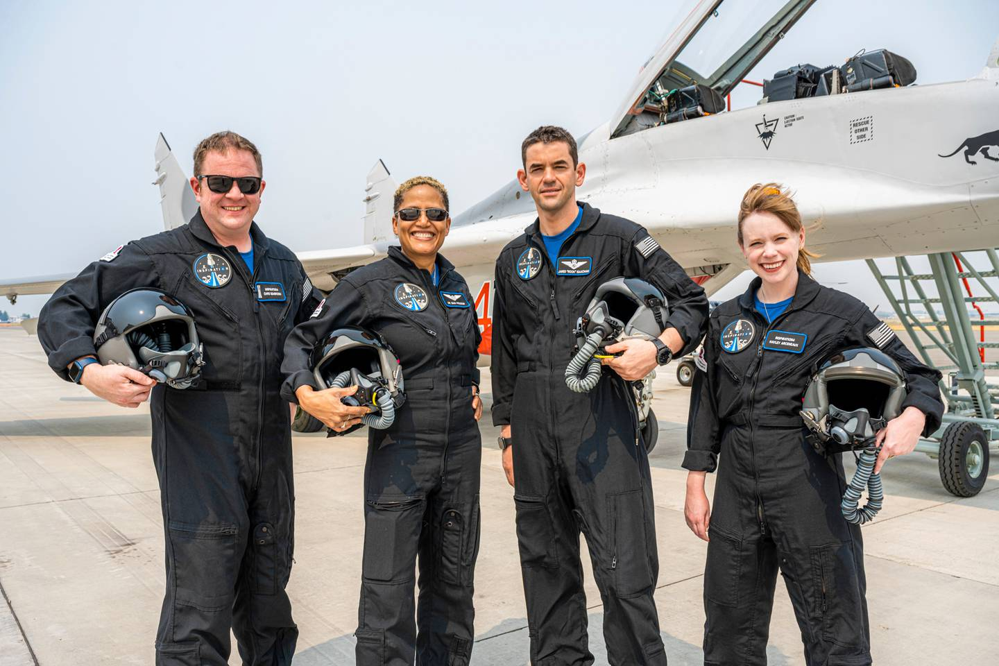 From left, Chris Sembroski, Sian Proctor, Jared Isaacman and Hayley Arceneaux are heading off to space today. Photo / AP