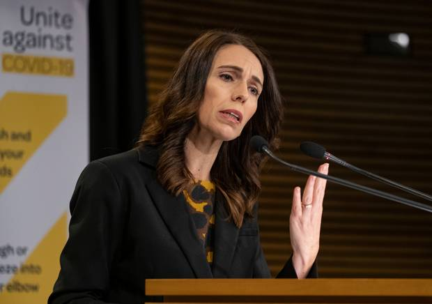 Prime Minister Jacinda Ardern at her press conference yesterday. Photo / Mark Mitchell
