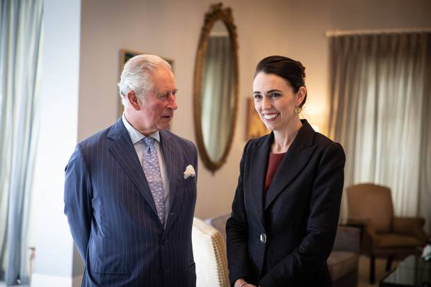Prince Charles and Camilla were welcomed at Government House by PM Jacinda Ardern. Photo / Pool