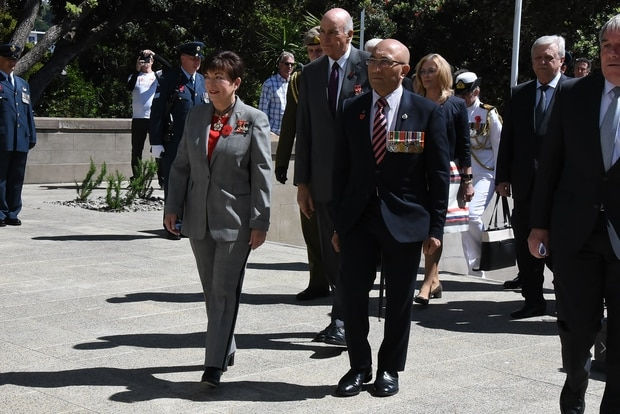Ron Mark wore his medals at Armistice Day celebrations, which he attended alongside Governor General Dame Patsy Reddy.