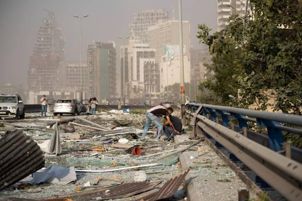Aftermath of the massive blast. Photo / AP