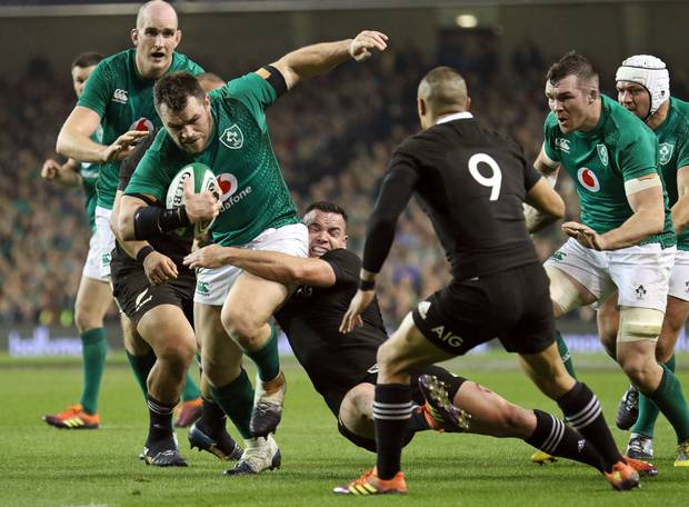 Ireland's Cian Healy runs with the ball during the rugby union international between Ireland and the New Zealand All Blacks in Dublin, Ireland. Photo / AP