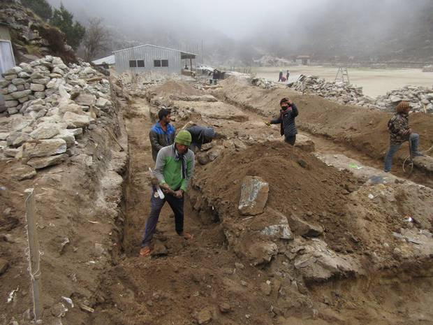 The five new Himalayan Trust-funded classrooms at Khumjung Secondary School in Nepal were built mainly by manual labour. Photo / Himalayan Trust