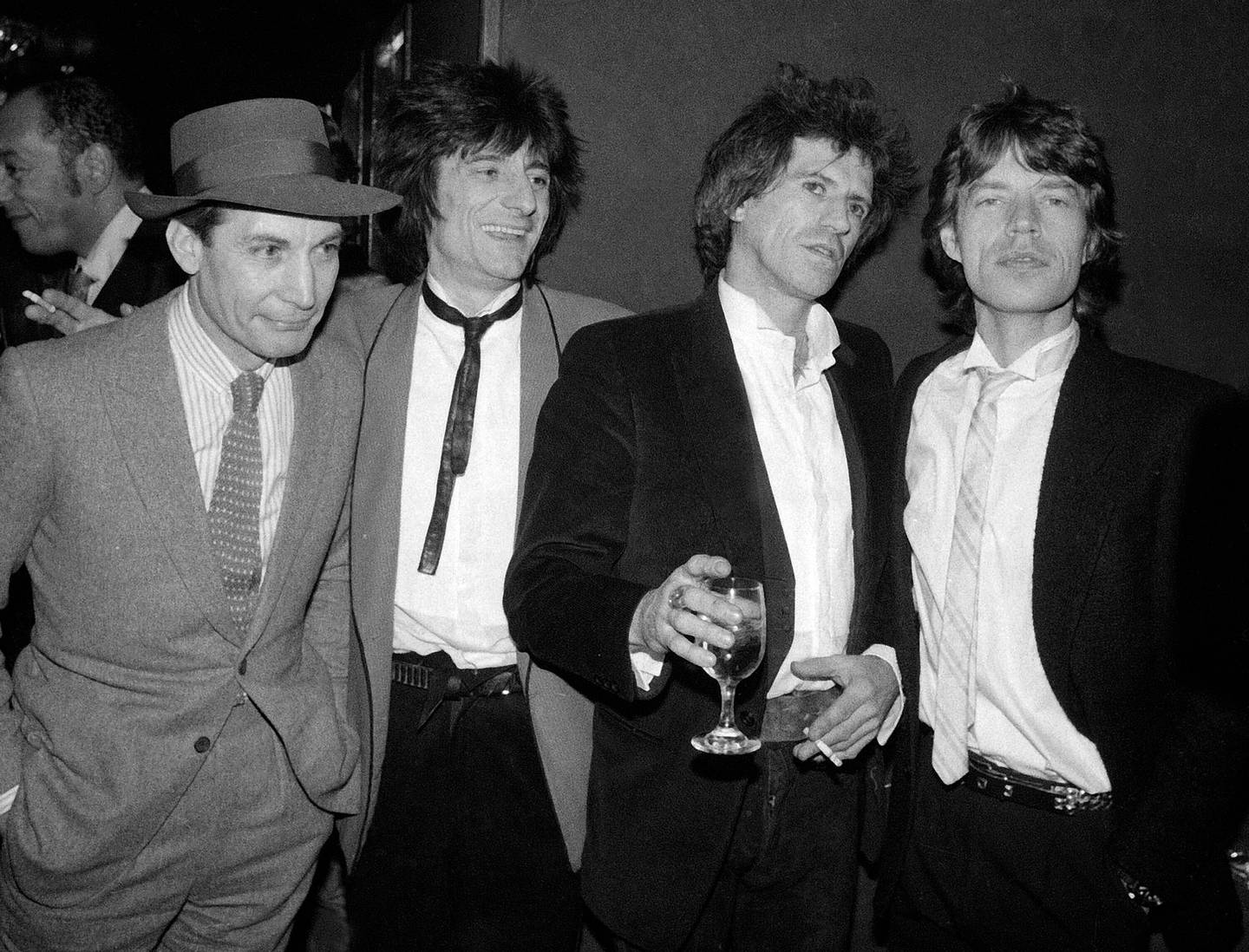 Charlie Watts, Ron Wood, Keith Richards, and Mick Jagger appear at a party celebrating the opening of their film Let's Spend The Night Together in New York on January 18, 1983. Photo / AP