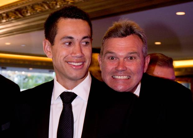 Ross Taylor with mentor Martin Crowe in 2014. Photo / Dean Purcell