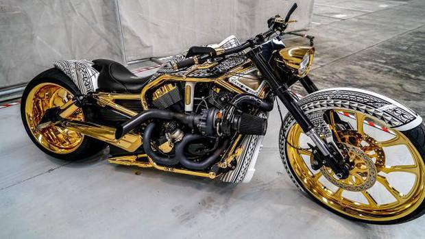 A gold-plated Harley Davidson was among the $3.7m worth of assets seized in Operation Nova. Photo / Supplied.