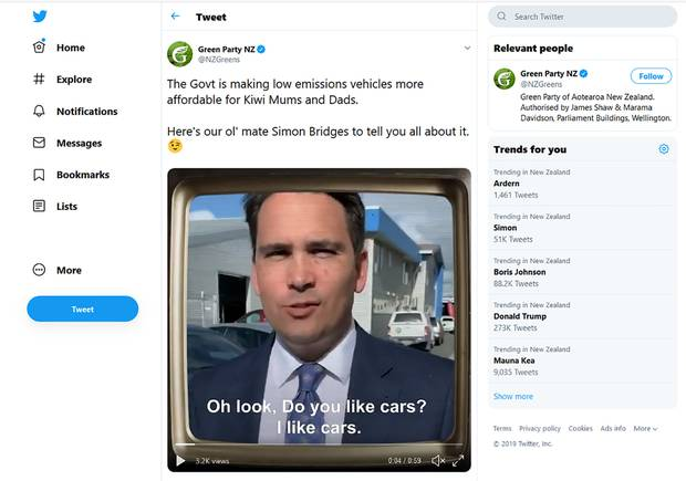 The Green Party has apologised and pulled down an attack ad targeting Simon Bridges' accent. Photo / Twitter